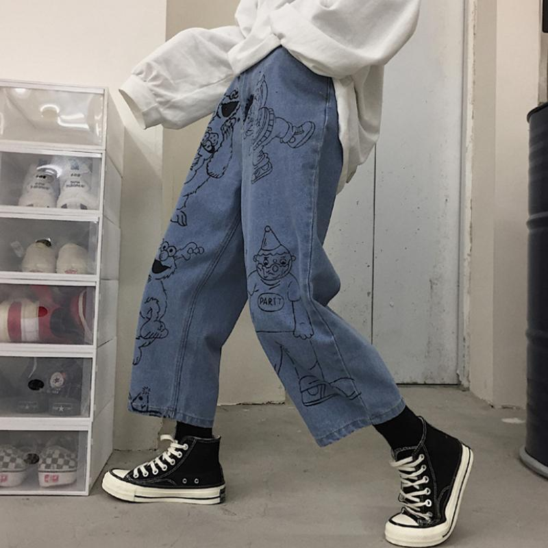 Buy cheap Aesthetic clothes SESAME STREET CARTOON PRINTED BLUE LOOSE STRAIGHT JEANS 30% OFF - NORMCORE STUDIOS