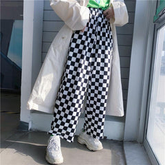 STREETSTYLE WIDE RETRO BLACK AND WHITE CHECKERBOARD ELASTIC PANTS HIGH WAIST
