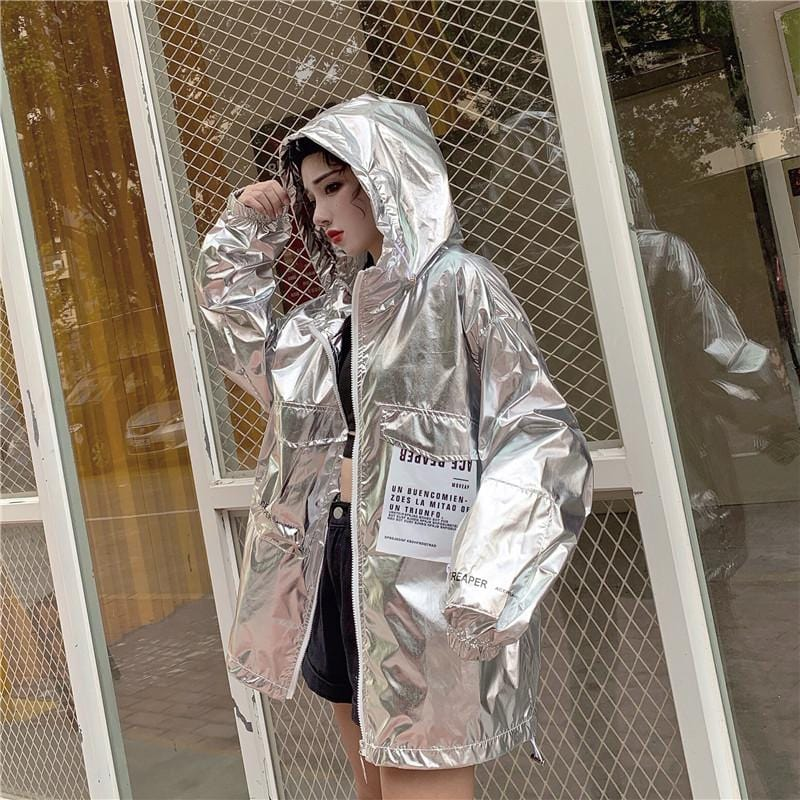 SHINY SILVER WHITE PINK LOOSE OUTWEAR HOODED JACKET