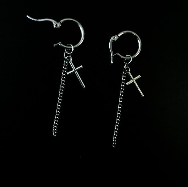 SILVER CROSSES + CHAINS LONG EARRINGS