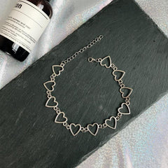 SILVER METAL HEARTS CHAIN CHOKER