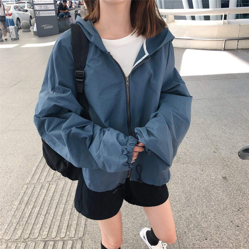 SOLID COLORS OVERSIZE WINDBREAKER JACKET