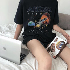 Buy cheap Aesthetic clothes SPACE ROCKET ARIZONA PRINT BLACK OVERSIZED T-SHIRT 30% OFF - NORMCORE STUDIOS