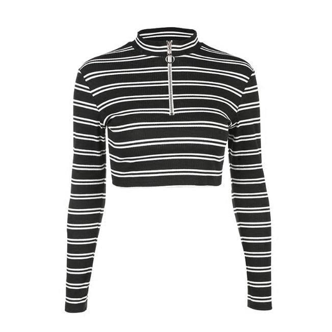 Buy cheap Aesthetic clothes STRIPES FRONT HIGH NECK ZIPPER METALLIC RING CROP SWEATER 30% OFF - NORMCORE STUDIOS
