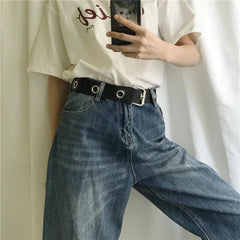 Buy cheap Aesthetic clothes BLACK CANVAS TEENAGERS GRUNGE METALLIC HOLES BELT 30% OFF - NORMCORE STUDIOS