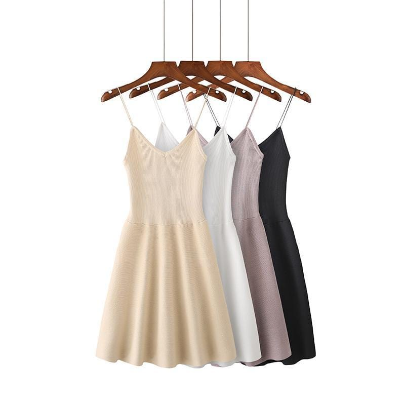 Buy cheap Aesthetic clothes THIN STRAPS SLEEVELESS BASIC SLIM CHEST MINIMAL DRESS 30% OFF - NORMCORE STUDIOS