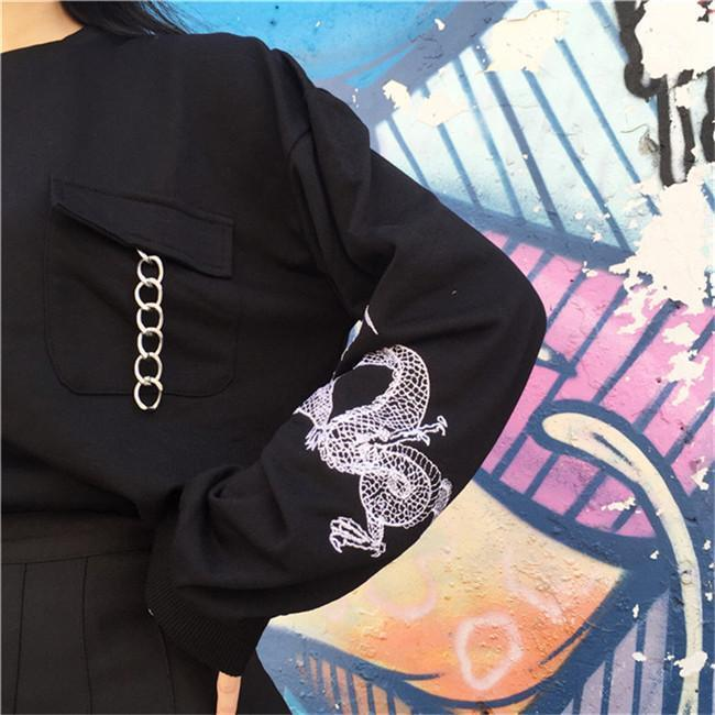 Buy cheap Aesthetic clothes BRIGHT BLUE BLACK CHINA DRAGON SLEEVE PRINT POCKET CHAIN SWEATSHIRT 30% OFF - NORMCORE STUDIOS