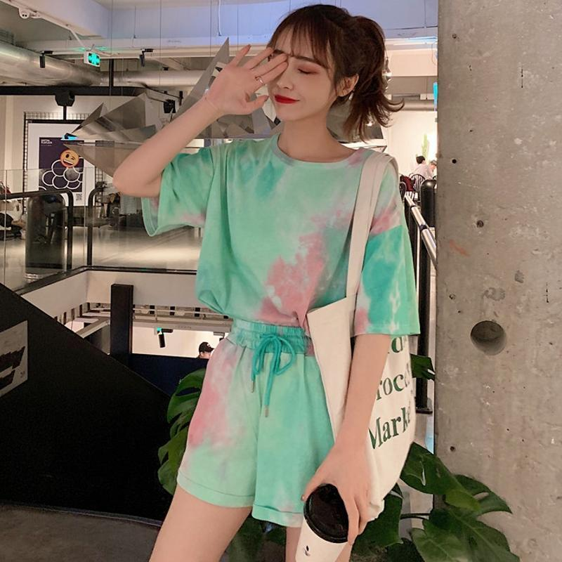 TIE DIE COLORS PRINT THIN LOOSE T-SHIRT SHORTS SET