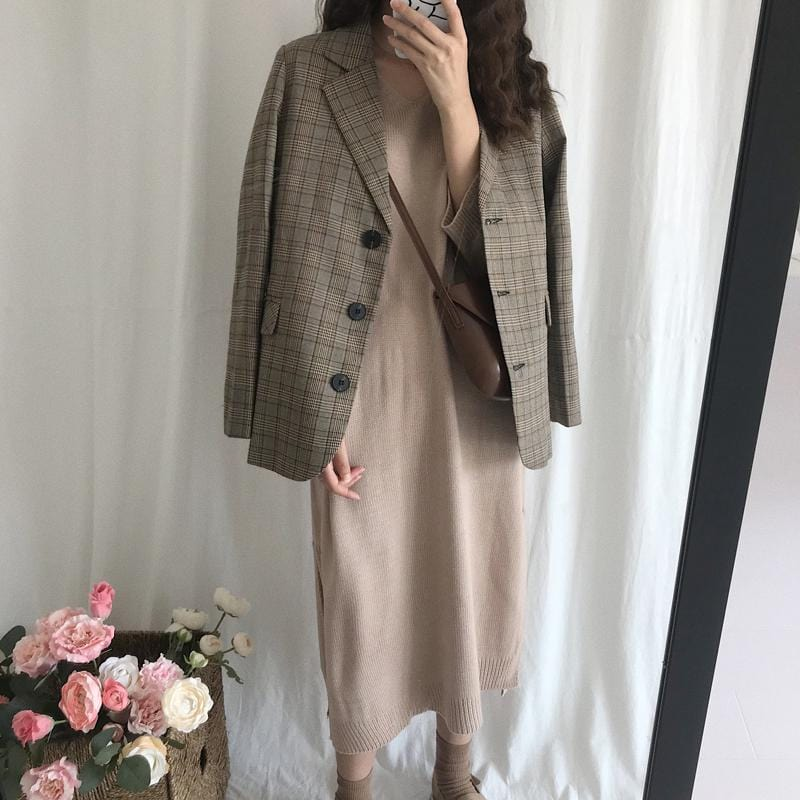RETRO WOMENS LOOSE PLAID JACKET WIDE SLEEVES