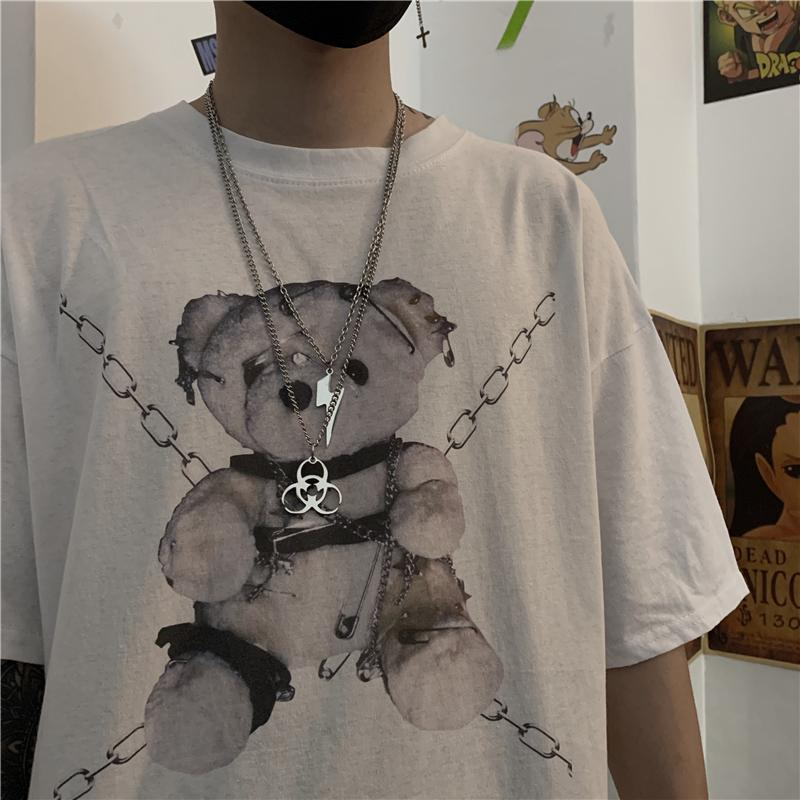 WHITE GRAY TEDDY BEAR PRINT OVERSIZED T-SHIRT