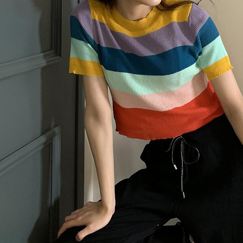 WIDE COLORFUL STRIPES KNIT CROPPED SHIRT