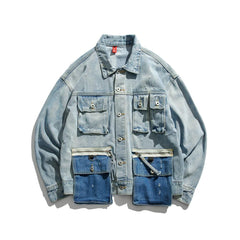 VINTAGE OVERSIZED DENIM JACKET POCKETS VELCRO PRINT ON THE BACK MULTI-LAYERED WIDE LONG SLEEVES