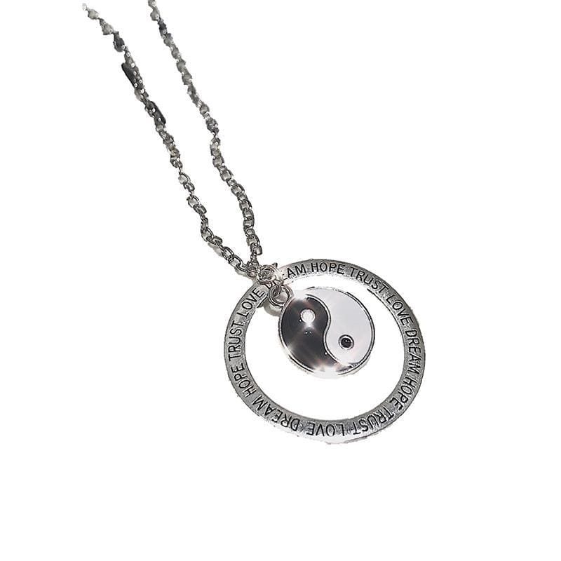 YIN YANG CIRCLE SILVER METALLIC NECKLACE