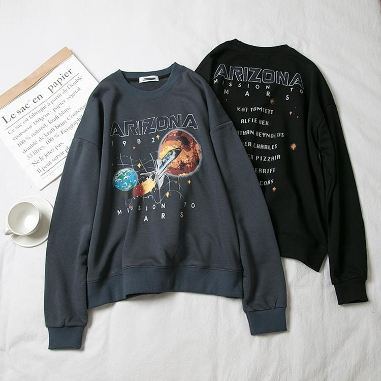 Buy cheap Aesthetic clothes HIPSTER SWEATSHIRT ARIZONA SPACESHIP COSMIC PRINT 30% OFF - NORMCORE STUDIOS