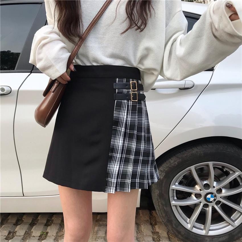 PLAID SCHOOL TWO-TONE SKIRT HIGH WAIST TWO STRAPS