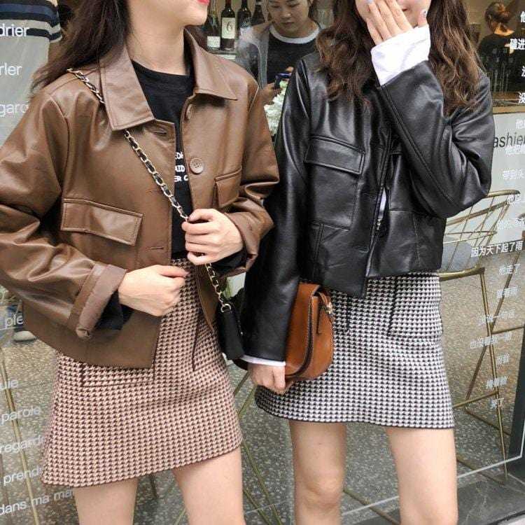 SHORT STUDENT SHINY JACKET POCKETS BUTTONS STREETSTYLE