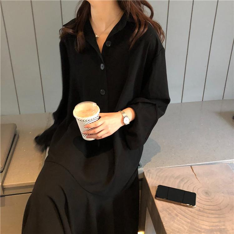 Buy cheap Aesthetic clothes LONG BLACK DRESS WITH BUTTONS 30% OFF - NORMCORE STUDIOS