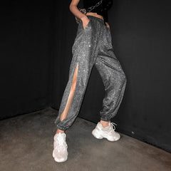 Buy cheap Aesthetic clothes ELASTIC FREE SHINY SLIM PANTS SIDE SLITS PARTY DIAMOND 30% OFF - NORMCORE STUDIOS