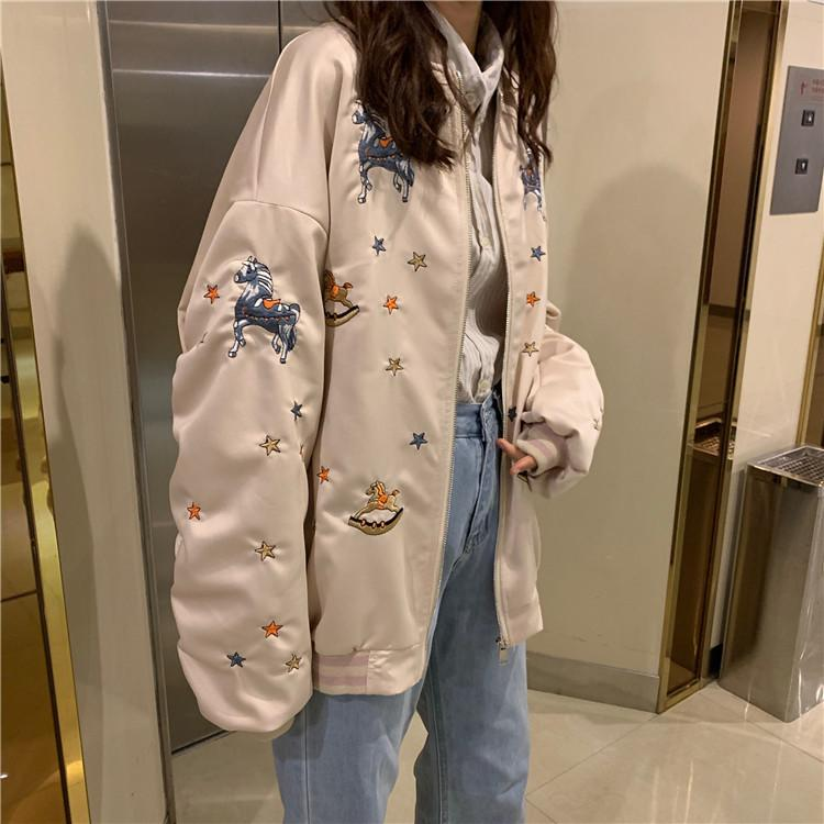 Buy cheap Aesthetic clothes BASEBALL UNIFORM UNICORN PRINT JACKET WIDE-SLEEVES 30% OFF - NORMCORE STUDIOS