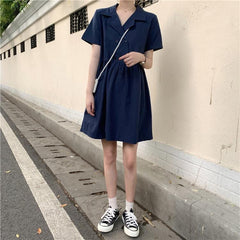 Buy cheap Aesthetic clothes LIGHT DOUBLE-BREASTED LOOSE SHORT-SLEEVED DRESS SUMMER 30% OFF - NORMCORE STUDIOS