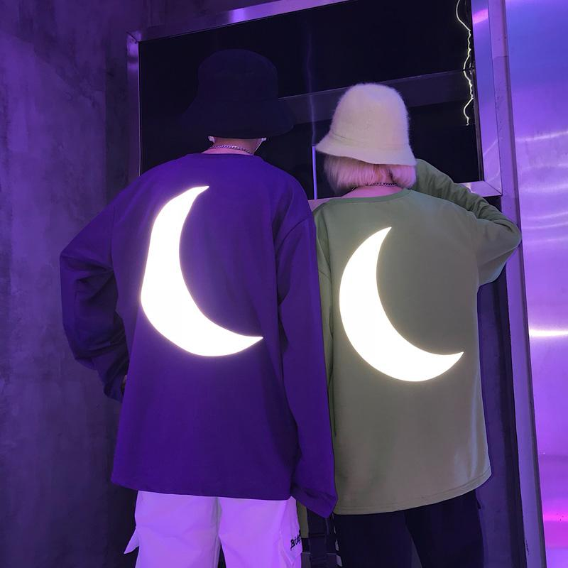 Buy cheap Aesthetic clothes BRIGHT LONGSLEEVE WIDE SLEEVES REFLECTIVE PRINT OF THE MOON 30% OFF - NORMCORE STUDIOS