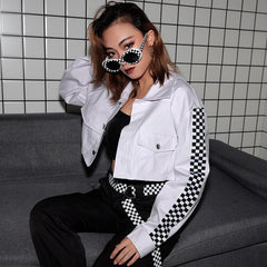 SHORT JACKET PRINT ON THE SLEEVES IN BLACK AND WHITE CHECKED BREAST POCKETS
