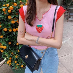 Buy cheap Aesthetic clothes CONTRAST COLOR STRAWBERRY PRINT SHORT COLLAR SHORT SLEEVE 30% OFF - NORMCORE STUDIOS