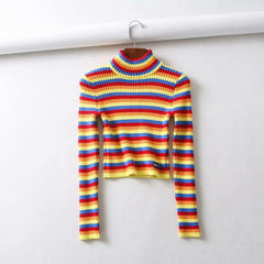 Buy cheap Aesthetic clothes STRIPED RAINBOW HAPPY TOP 30% OFF - NORMCORE STUDIOS