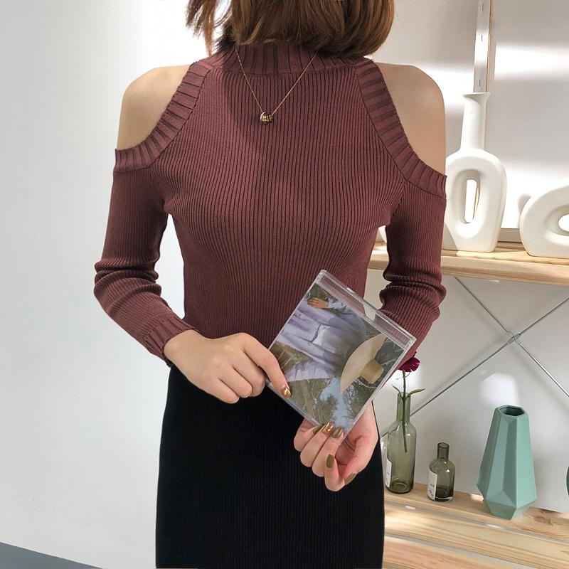 Buy cheap Aesthetic clothes KNIT OFF-SHOULDER TOP SHORT COLLAR 30% OFF - NORMCORE STUDIOS