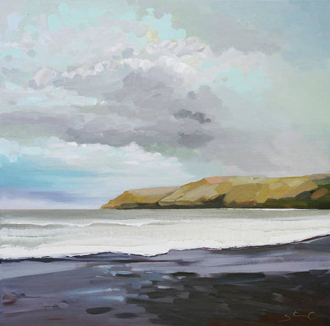 Black Sand Beach Under A Cloudy Sky - Art Print