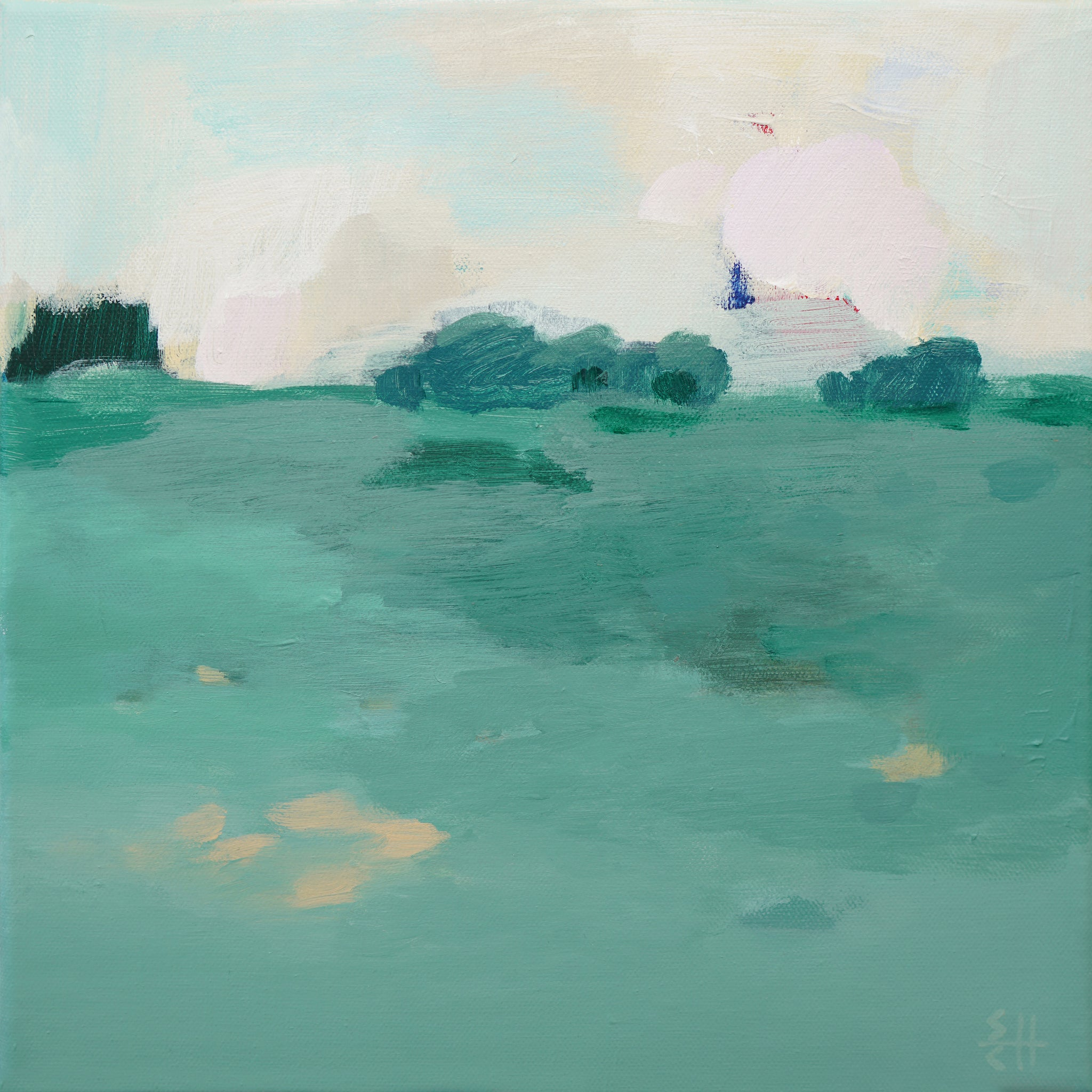 Landscape-'Green field at dusk No.1'
