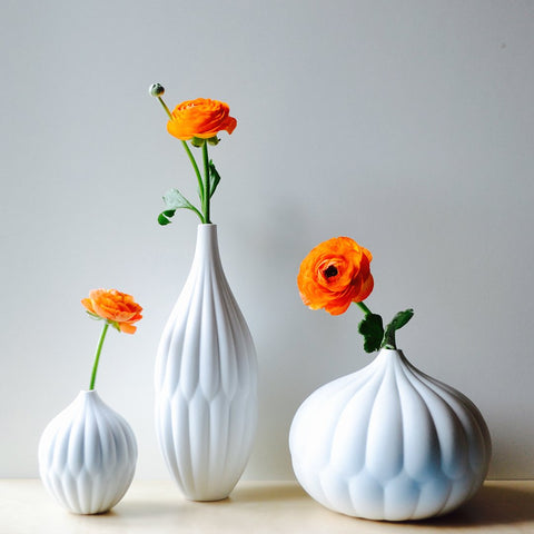 Collection of 3 Textured Porcelain Vases