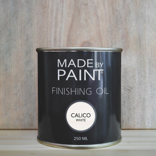 made by paint, function by design, finishing oil, calico white