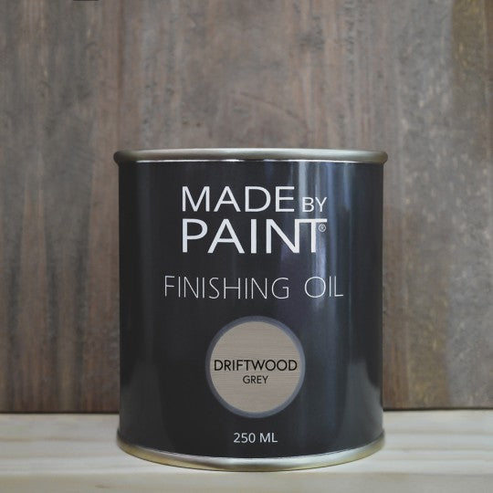 made by paint, function by design, finishing oil, driftwood grey