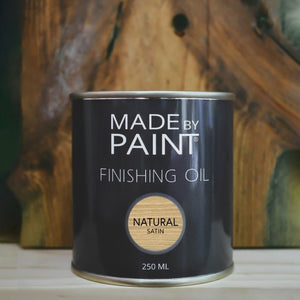 made by paint, function by design, finishing oil, natural satin finish