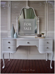 Function by design furniture painting white dressing table with queen anne legs and bow draw fronts