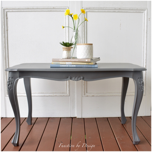 Custom furniture painting Function by Design grey french provincial coffee table