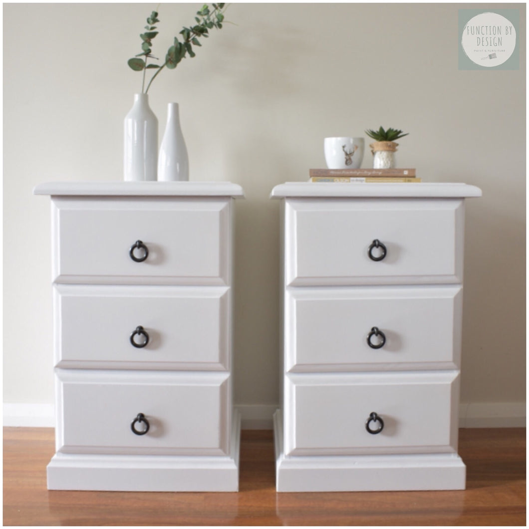 Function by Design coastal white whitewashed bedside tables