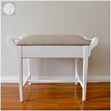 Load image into Gallery viewer, custom furniture painting Function by Design white upholstered piano stool