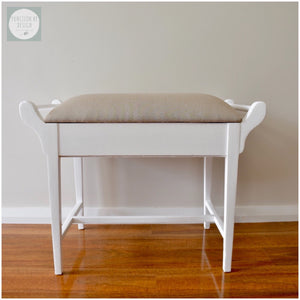 custom furniture painting Function by Design white upholstered piano stool