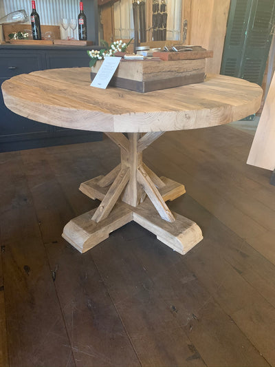 Rustic Recycled European Oak Round Table with Provincial Base