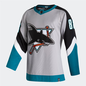 San Jose Sharks Men's Reverse Retro Authentic Jersey-88-Gray