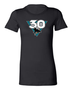 Women's San Jose Sharks Black 30th Anniversary Heritage Short Sleeve Tee