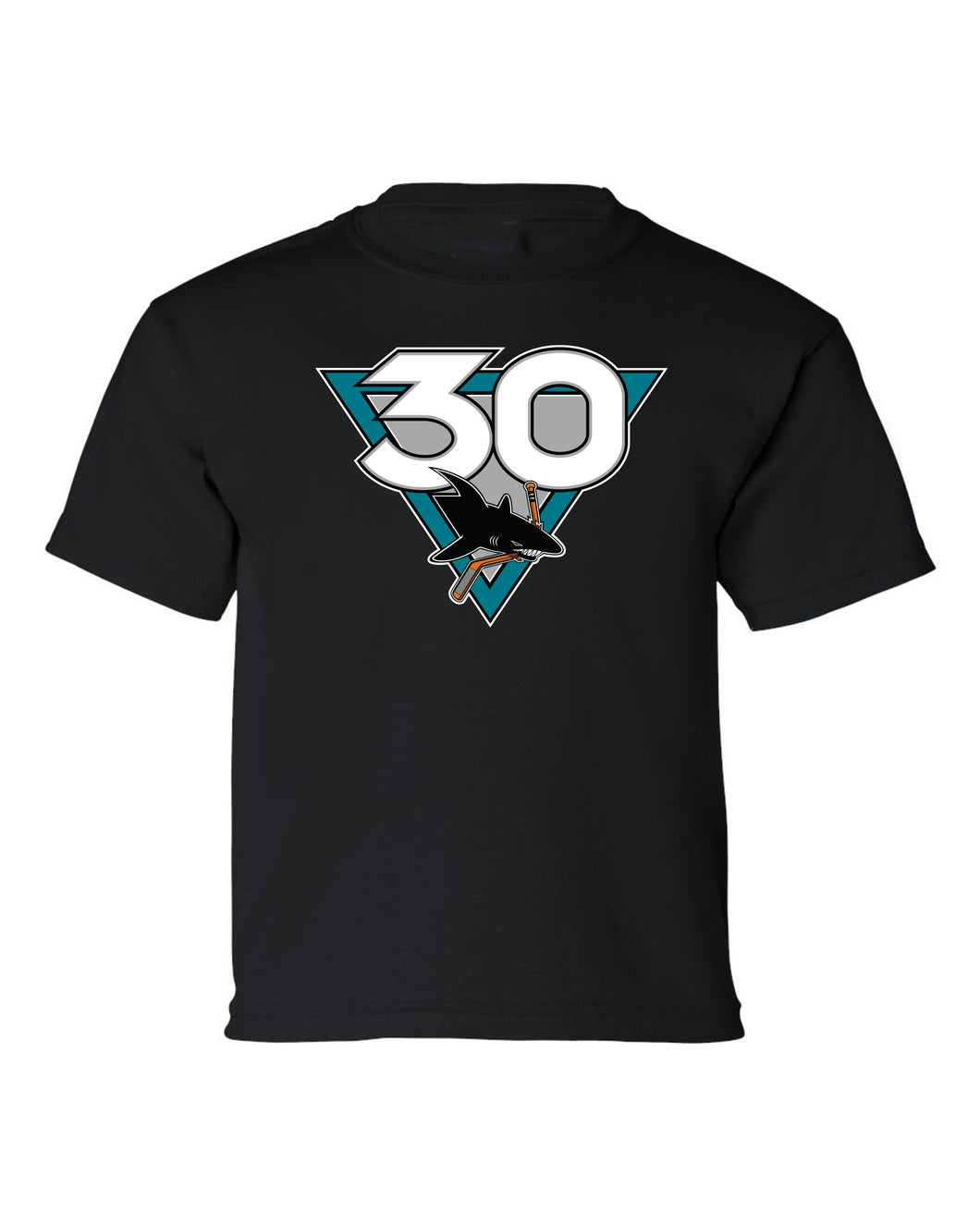 Men's San Jose Sharks Black 30th Anniversary Heritage Short Sleeve Tee