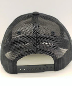 Primary Logo Leather Logo Trucker-Black