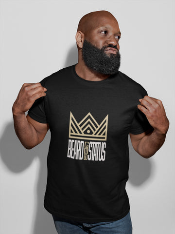 Black man with beard wearing Beard god status black tee