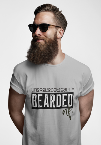 Angie Watts unapologetically Bearded AF. grey short sleeve tee