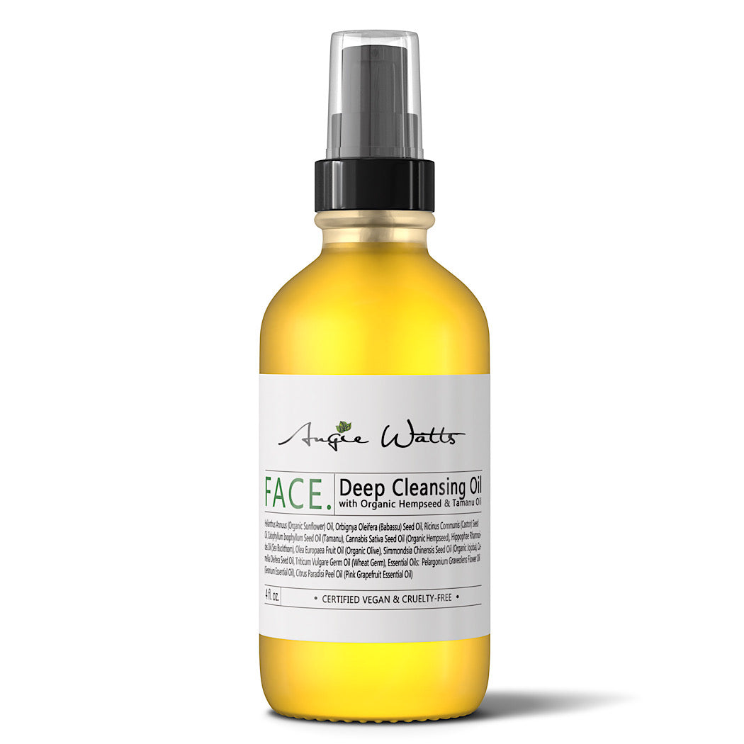 Angie Watts FACE Deep Cleansing Oil, clear bottle