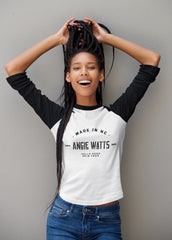 Black girl with braids, wearing Angie Watts Made in NC Black & White tee