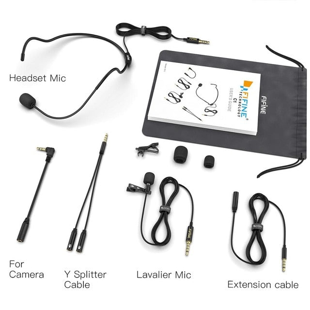 Lapel Microphone for Mobile Phones with 8 Set of Adapter cables